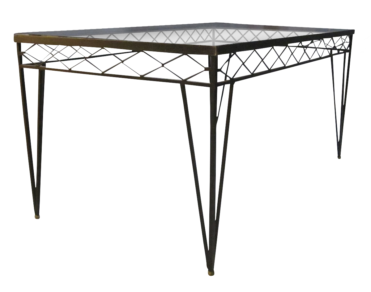c854ef719cc6 1940 s French Wrought Iron   Glass Top Dining Table