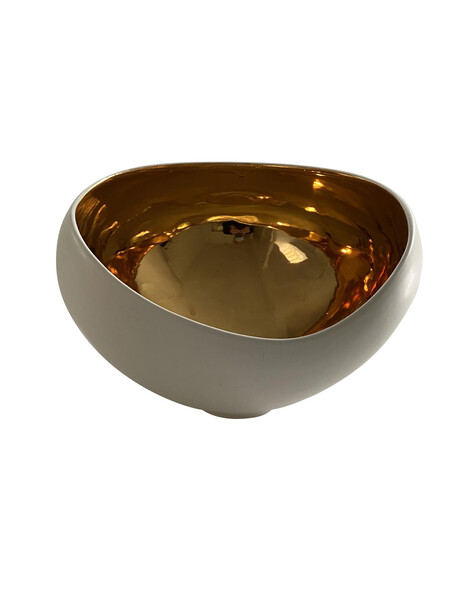 Contemporary American Ceramicist Sandi Fellman 22K  Lined Asymmetrical Bowl