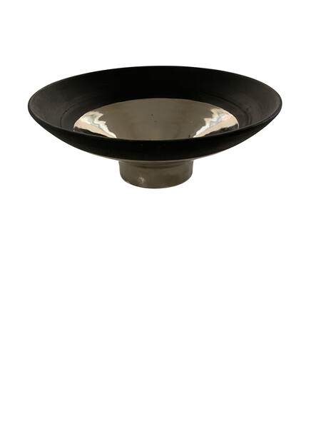 Contemporary American Ceramicist Sandi Fellman Black & Platinum Stoneware  Bowl