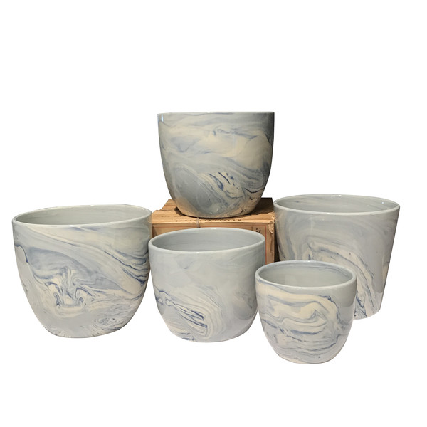Contemporary Collection Of Marbelized Pots