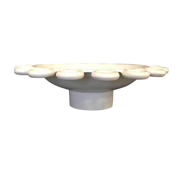 Contemporary French White Bowl Circles Border