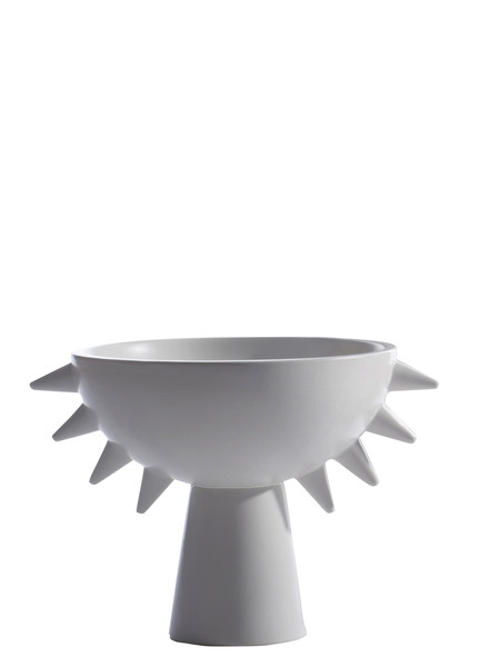 Contemporary French White Spiky Footed Bowl