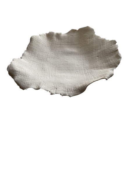 Contemporary French Small White Porcelain Linen Textured Bowl