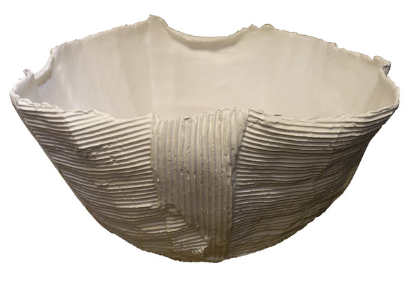 Contemporary Italian Corrugated Porcelain Bowl