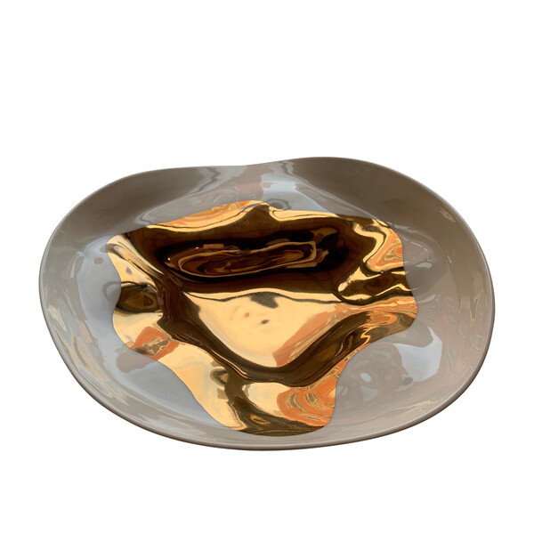 Contemporary Italian Gold Flame Large Bowl