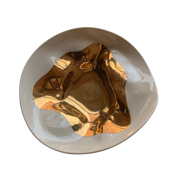 Contemporary Italian Gold Flame Small Bowl