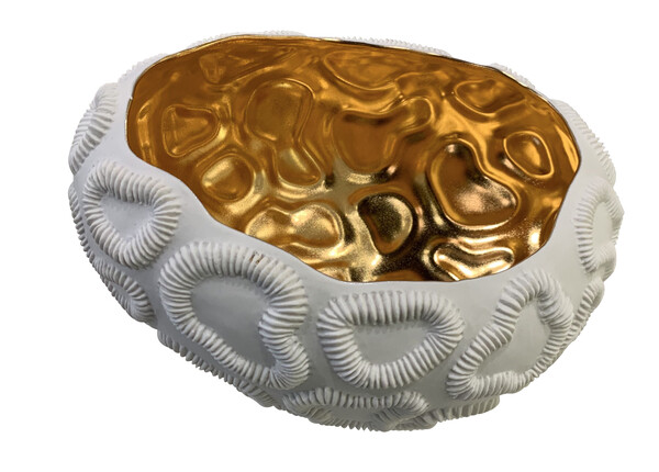 Contemporary Italian Gold Lined Texture Porcelain Bowl