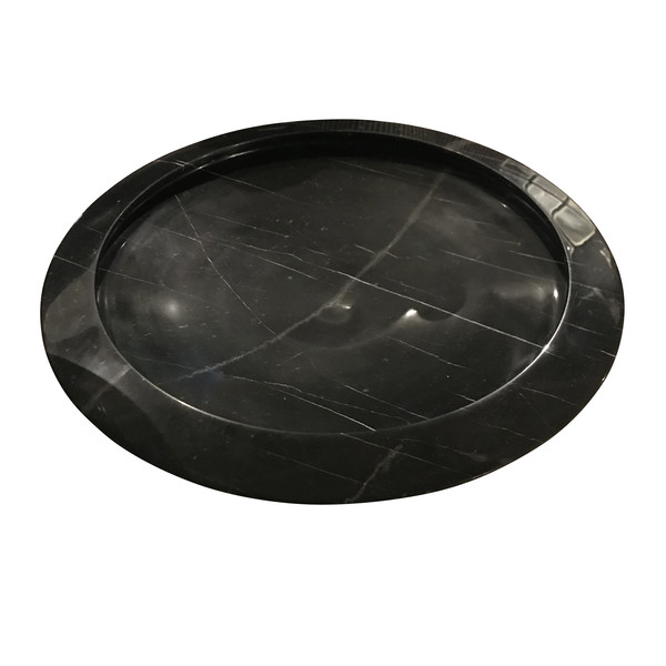 Contemporary Italian Large Round Black Marble Bowl