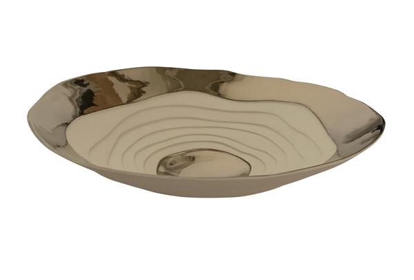 Contemporary Italian Porcelain Bowl with Platinum Trim