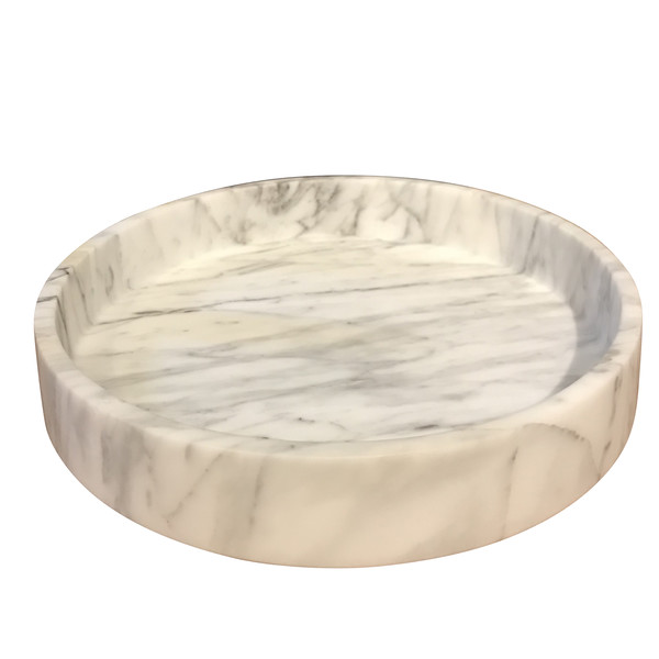 Contemporary Italian Round White Marble Bowl