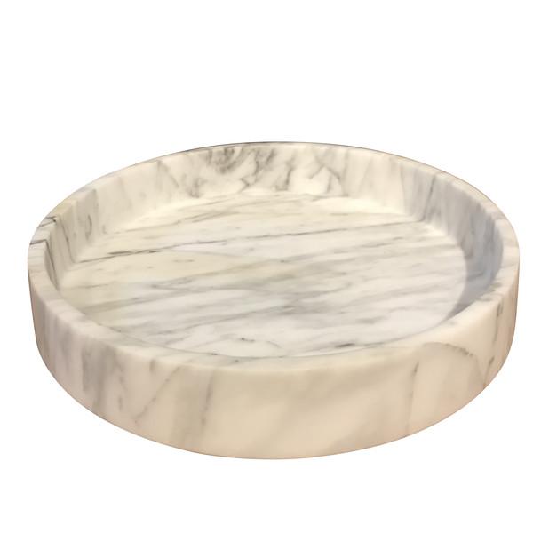 Contemporary Italian Round White Marble Bowl