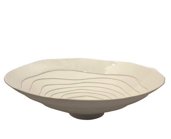 Contemporary Italian White Concentric Circle Design Bowl