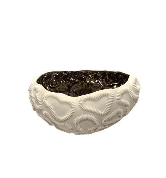 Contemporary Italian White Porcelain Bowl Platinum Interior