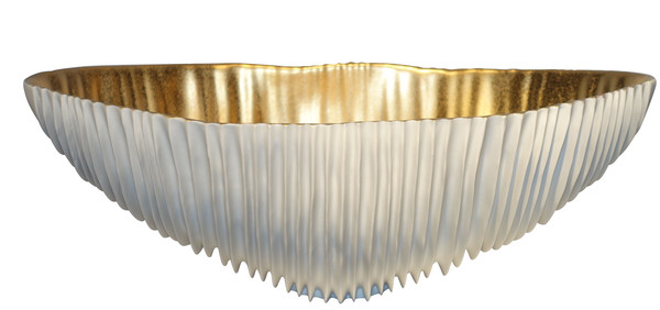 Contemporary Italian White Porcelain Bowl With Gold Leaf Inside