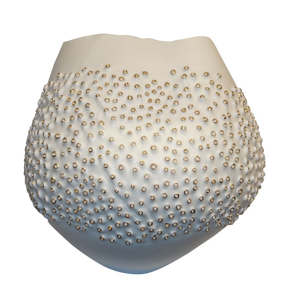 Contemporary Italian White Porcelain Coral Motif Bowl