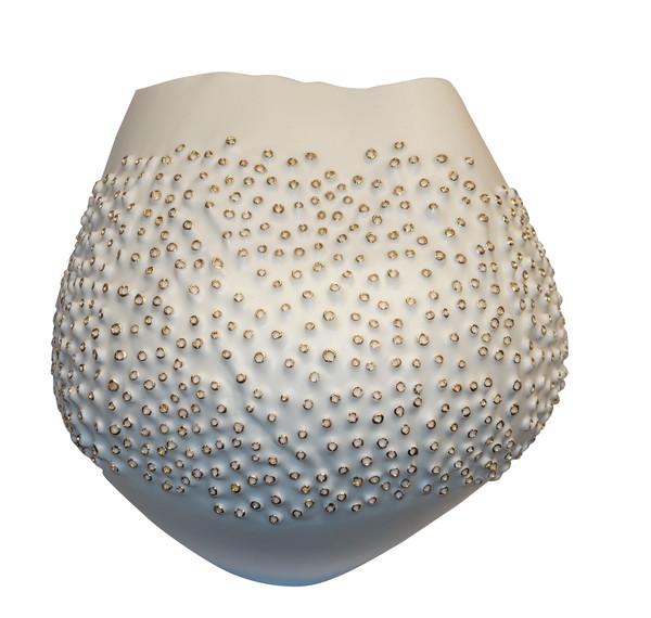 Contemporary Italian White Porcelain Coral Motif Vase