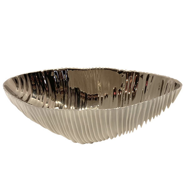 Contemporary Italian White Porcelain Oval Shaped Ribbed Bowl