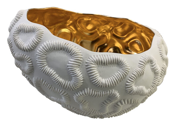 Contemporary Italian White Porcelain with Gold Interior Bowl