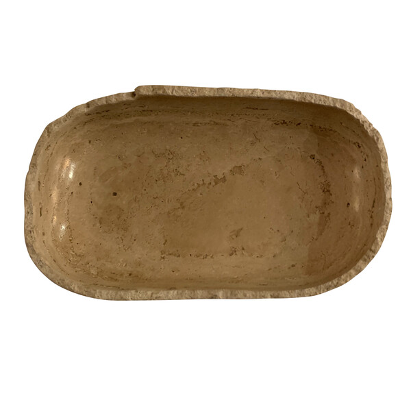 Contemporary Oval Shaped Travertine Bowl