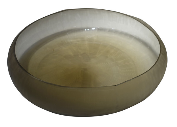Contemporary Romania Etched Gold Glass Bowl