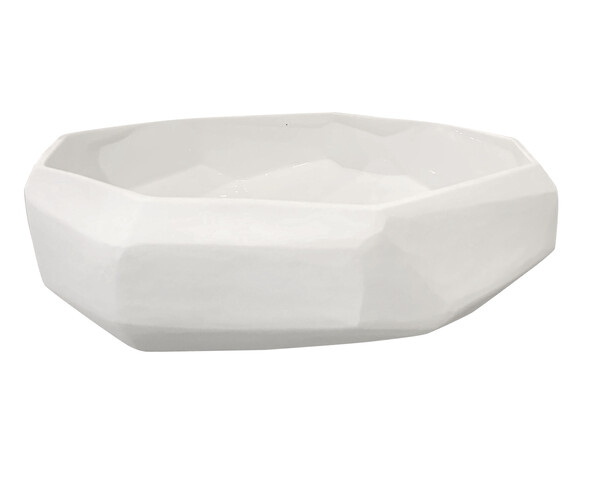 Contemporary Romanian White Glass Bowl