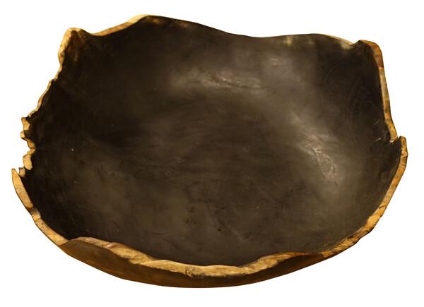Indonesian Black Teak Free Form Shaped Bowl