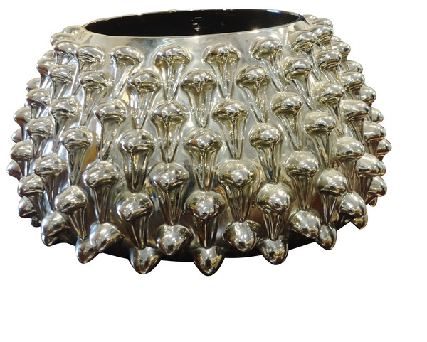 Mid Century Italian Silver Leaf Glass Spiky Bowl