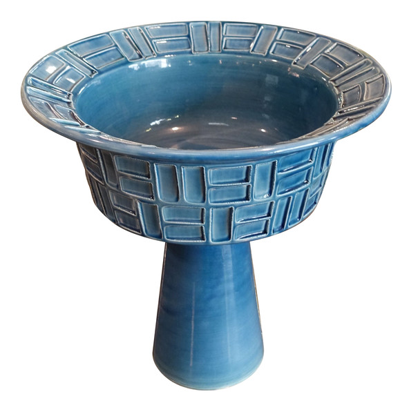 Mid Century Italian Turquoise Footed Bowl