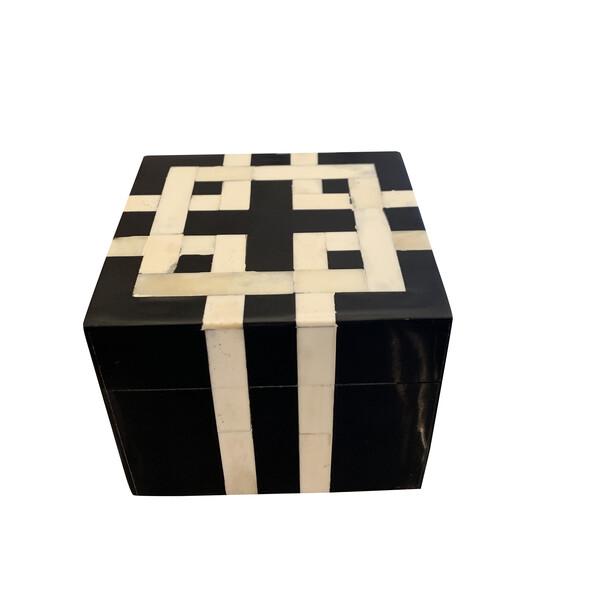 Contemporary Indian Black and White Bone Box