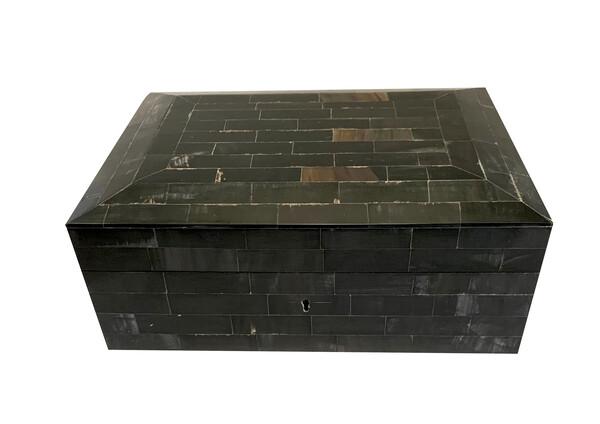 Contemporary Indian Pieced Black Bone Box