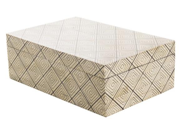 Contemporary Indonesia Diamond Pattern Bone Box