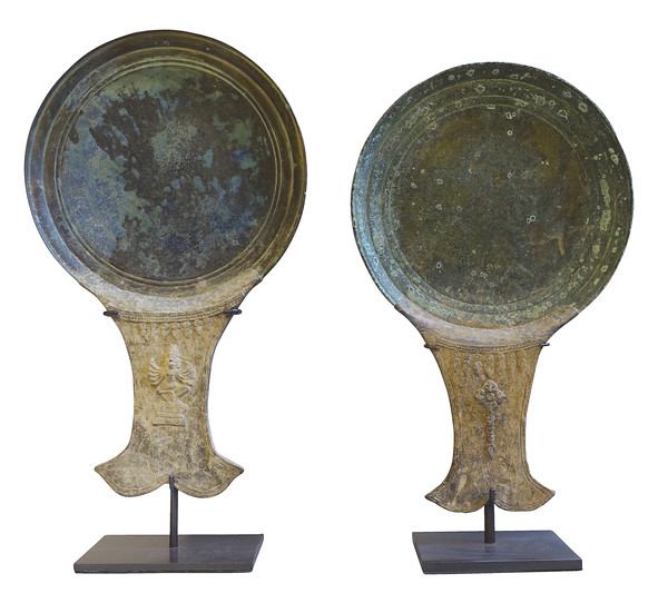 15thc Cambodian Pair Bronze Mirror Backs