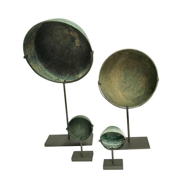 16thc Cambodian Collection of Four Bronze Bowls