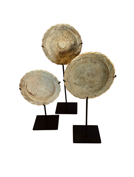 18thc Cambodian Set of Three Ship Wrecked Saucers on Stands