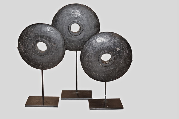 19thc Indonesian Set of Three Black Stone Coins on Stands