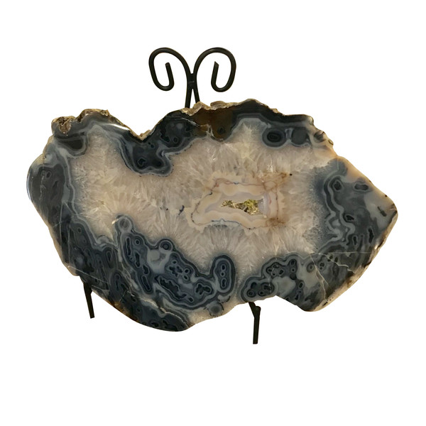 Brazilian Sliced Agate Sculpture On Stand