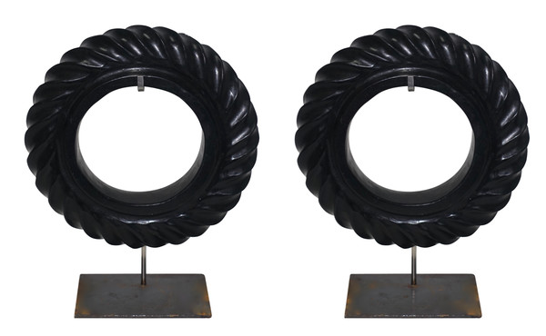 Contemporary Chinese Pair Black Stone Rope Twist Discs