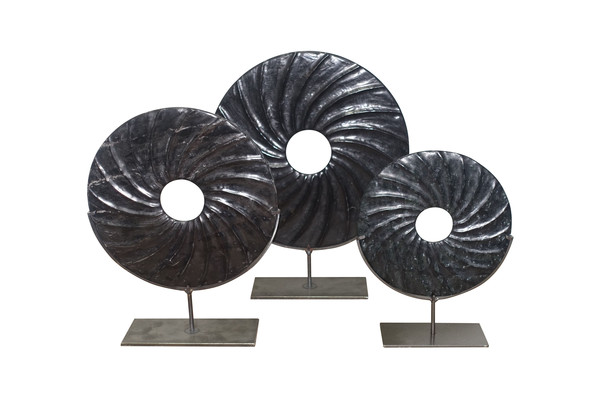 Chinese Set of Three Swirl Pattern Stone Rings on Stands