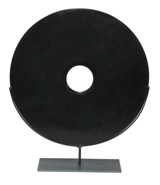 Contemporary Chinese Black Disc on Stand