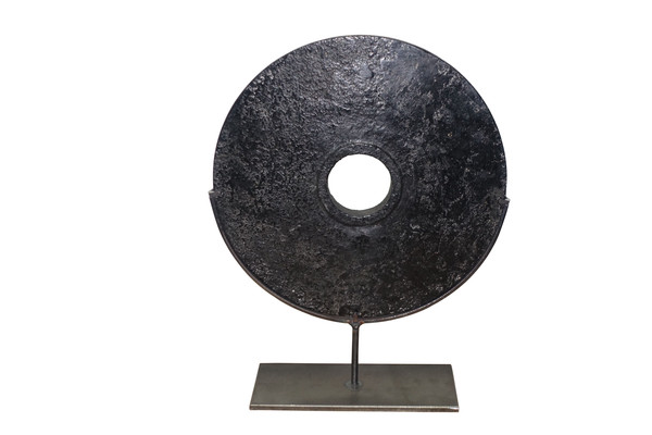 Contemporary Chinese Black Stone Disc on Stand