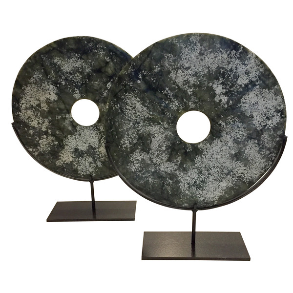 Contemporary Chinese Dark Green / White Blotch Stone Discs on Stand
