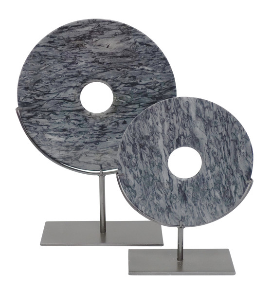 Contemporary Chinese Grey Stone Discs