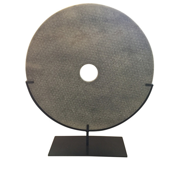 Contemporary Chinese Large Grey Textured Stone Disc