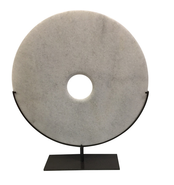 Contemporary Chinese Large Smooth White Disc on Stand