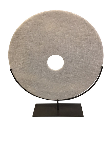 Contemporary Chinese Large White Textured Stone Disc