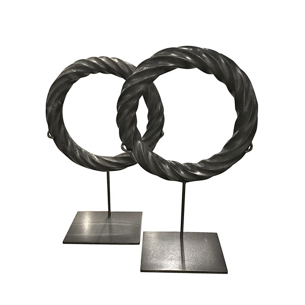Contemporary Chinese Pair Black Twisted Marble Rings on Stands