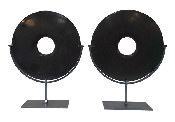 Contemporary Chinese  Pair Smooth Black Stone Discs
