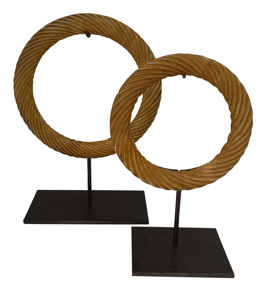 Contemporary Chinese Set Stone RIngs on Stands