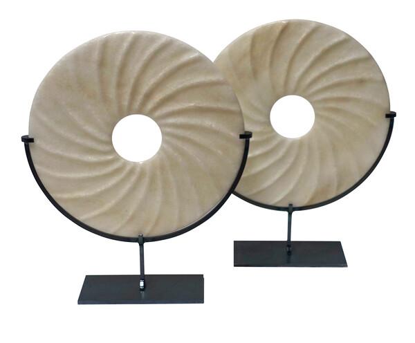Contemporary Chinese Pair Wavy White Stone Discs