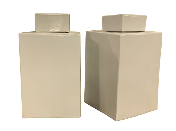 Contemporary Chinese Pair White Square Canisters